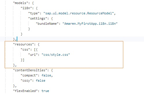 SAPUI5 MANIFEST.JSON FILE ADDING CSS FILE