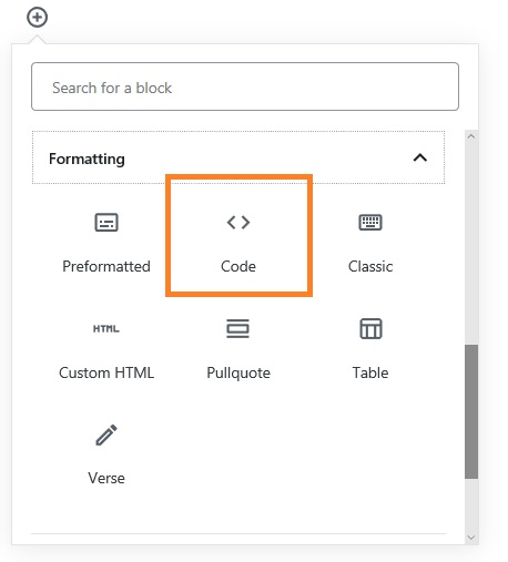 Gutenberg editor using Code block to display code snippets