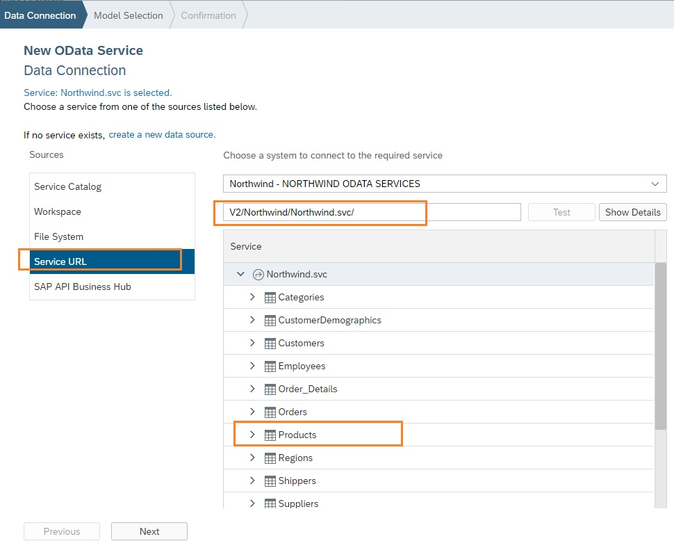 attach northwind odata service to sapui5 application in sap webide