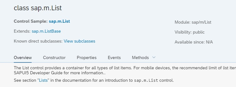 sap.m.List API Reference