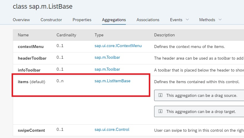 sap.m.list items aggregation