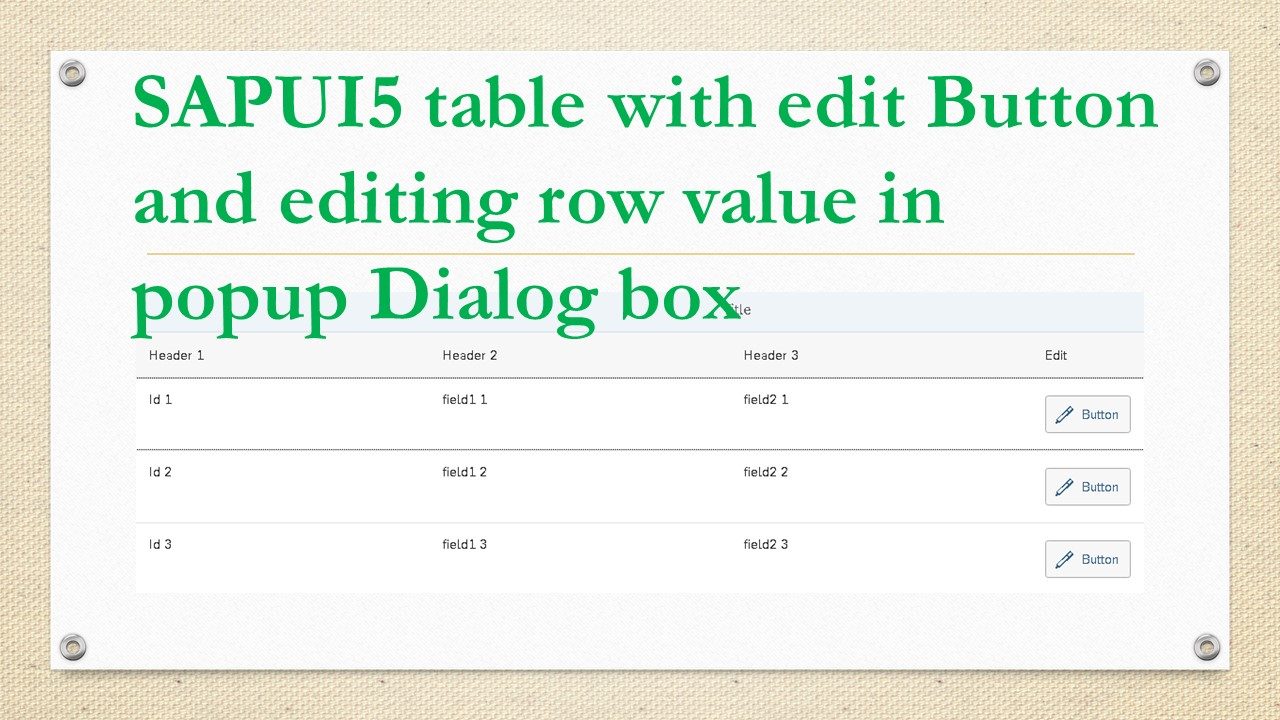 SAPUI5 table with edit Button and editing row value in popup Dialog