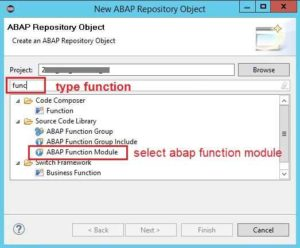 ABAP in Eclipse Create Function Module