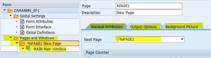 SAP SmartForm Pages and Windows
