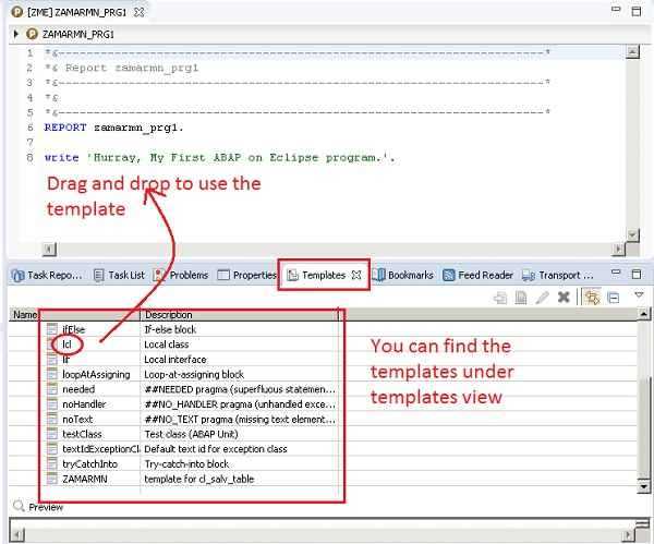 Create Static code Templates in ABAP on Eclipse