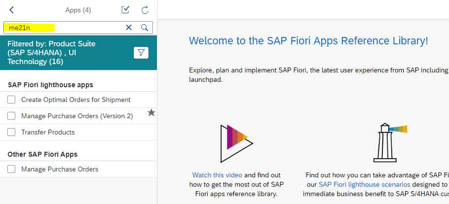 Find Fiori Apps from Fiori Apps library using transaction code